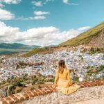 Panorama su Chefchauen città blu in Marocco
